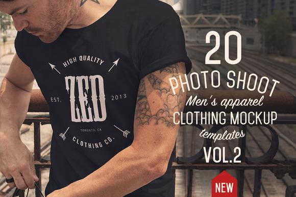 20 Mens apparel Mockups VOL.2 - Product Mockups