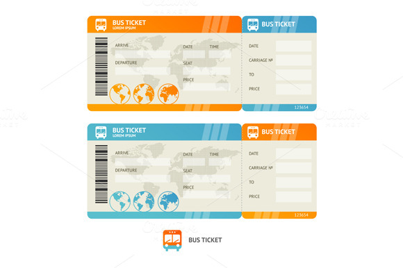 Bus ticket. Vector - Objects