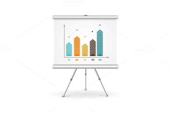 Flip chart business concept. Vector - Illustrations