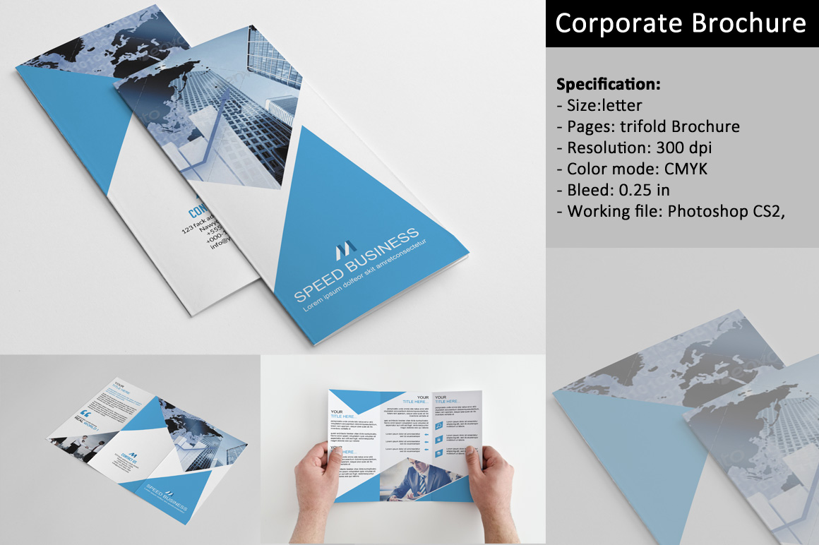 Trifold corporate brochure v162 brochure templates on for Corporate tri fold brochure template