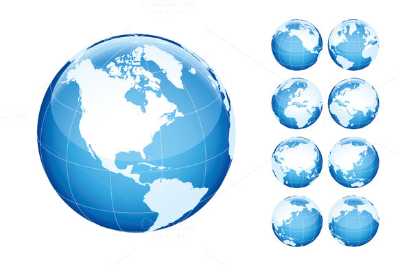 Globe with world map. Blue. - Illustrations