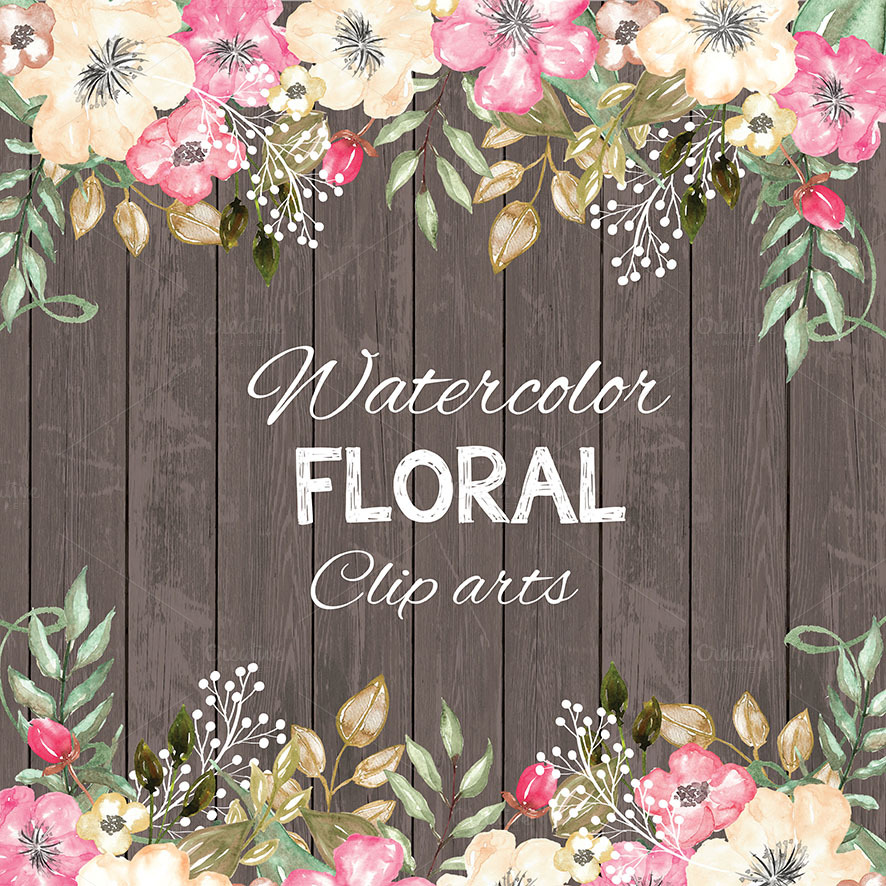 Watercolor Rustic Floral Cliparts Illustrations On