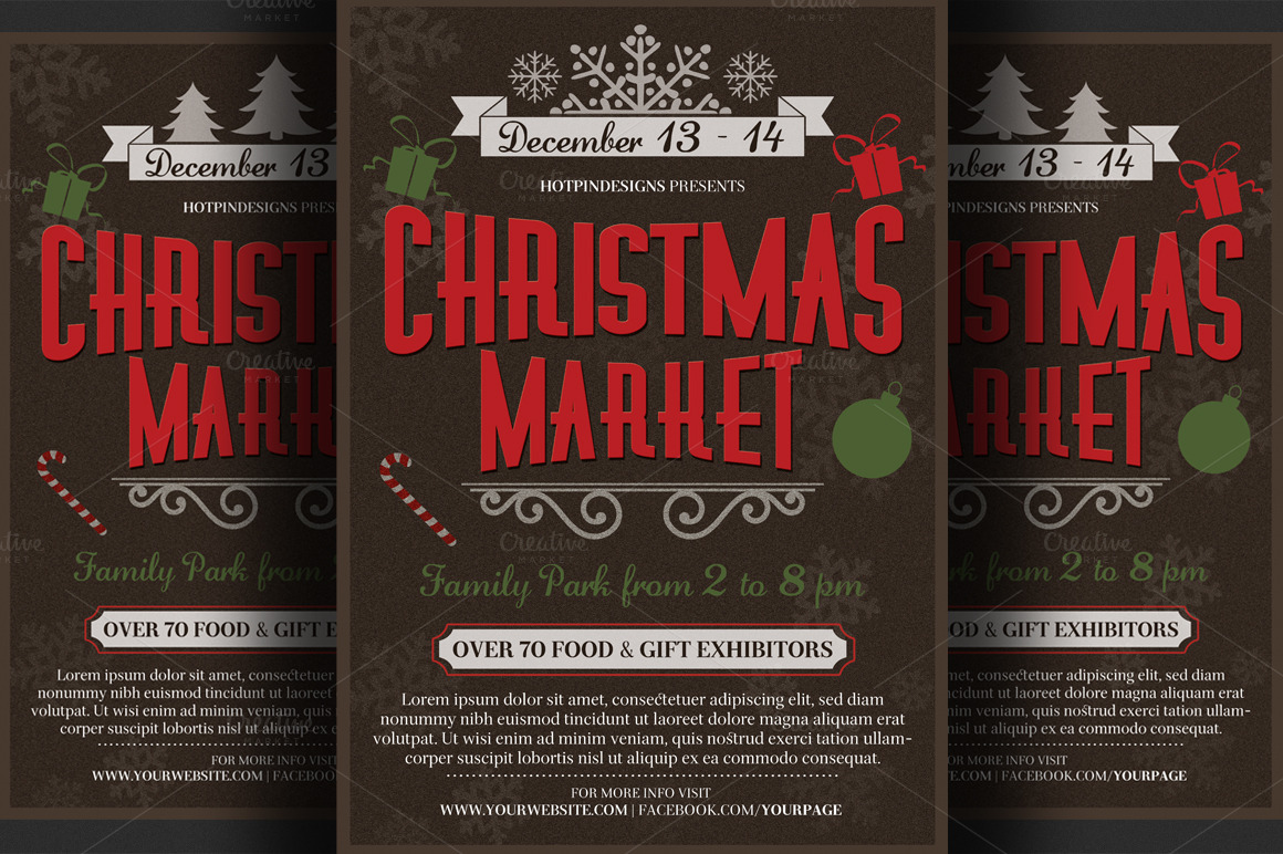 christmas event flyer poster flyer templates on creative market. Black Bedroom Furniture Sets. Home Design Ideas