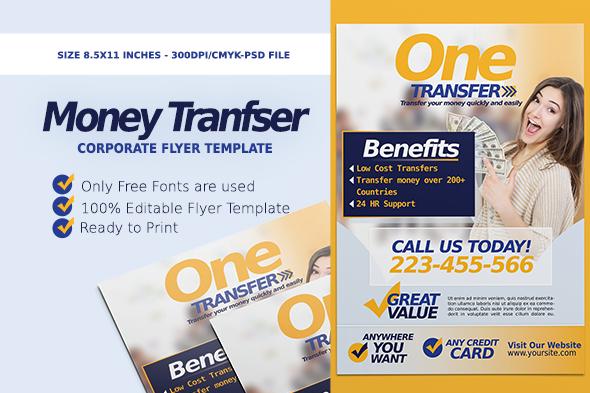 money transfer corporate flyer flyer templates on creative market. Black Bedroom Furniture Sets. Home Design Ideas