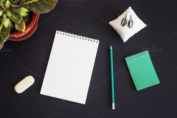 Mockup. Notebook drawing, pencil. - Product Mockups