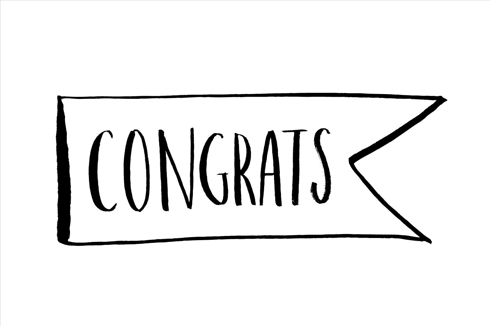 congratulations brush vector