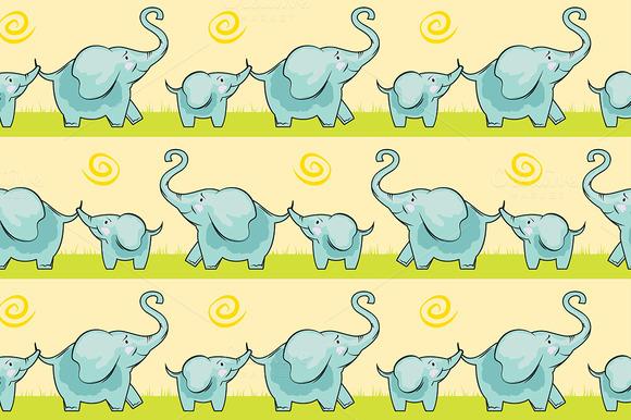Children Cute Elephant Seamless