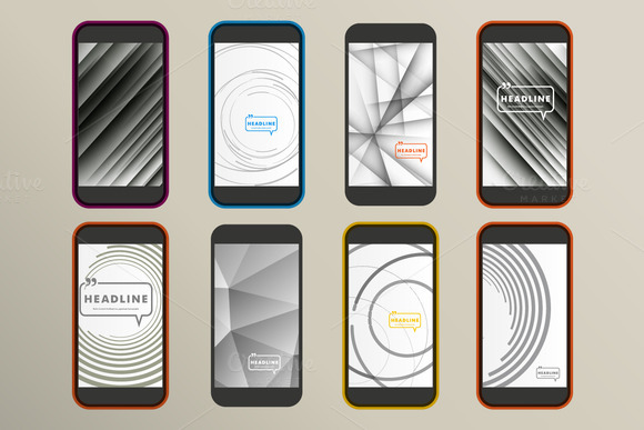 Set Of 8 Abstract Design For Phone
