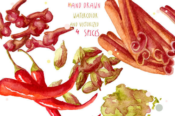 Watercolor Spices Hand Drawn Vector