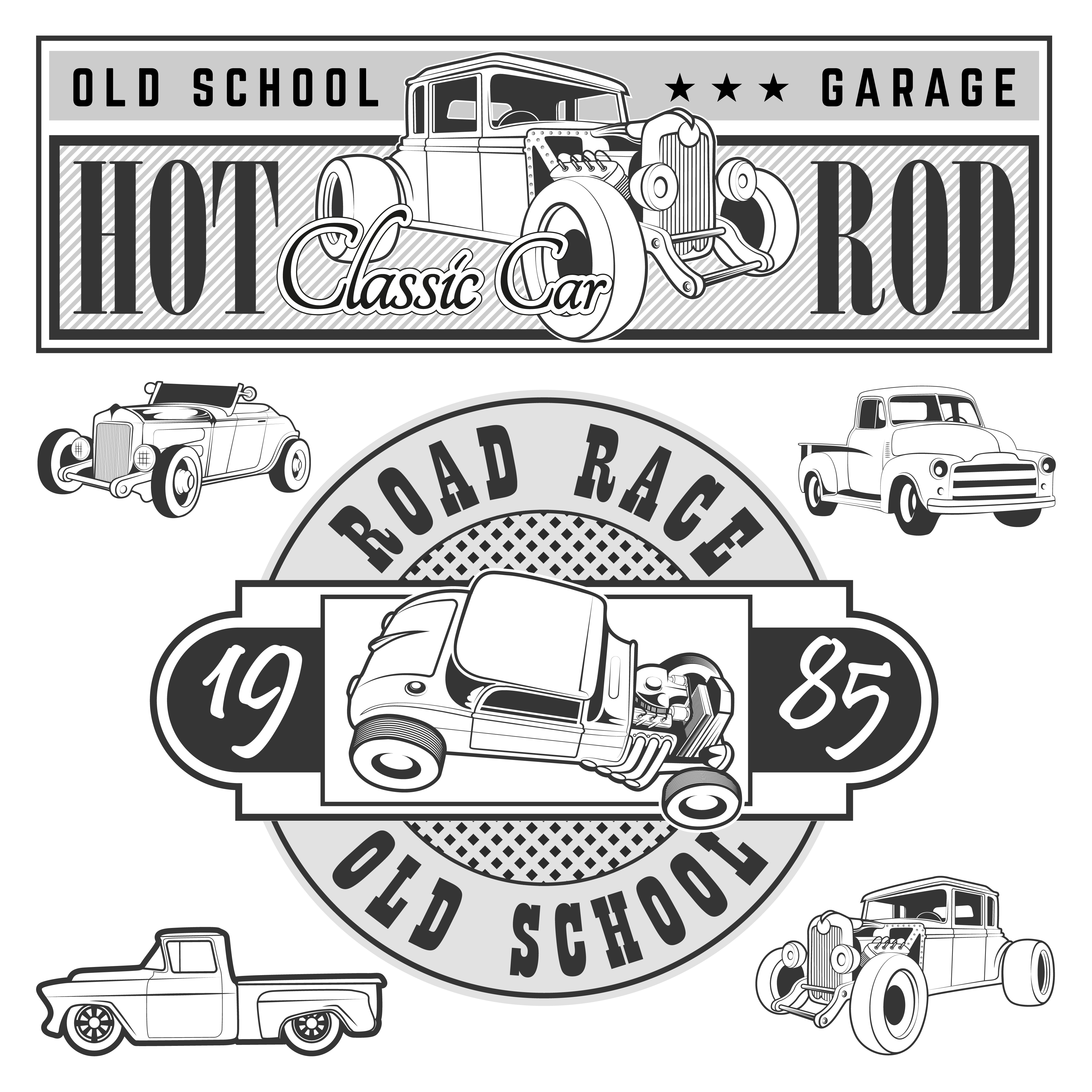Vintage race car for printing ~ Illustrations on Creative