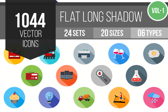 1000 Flat Shadow Icons