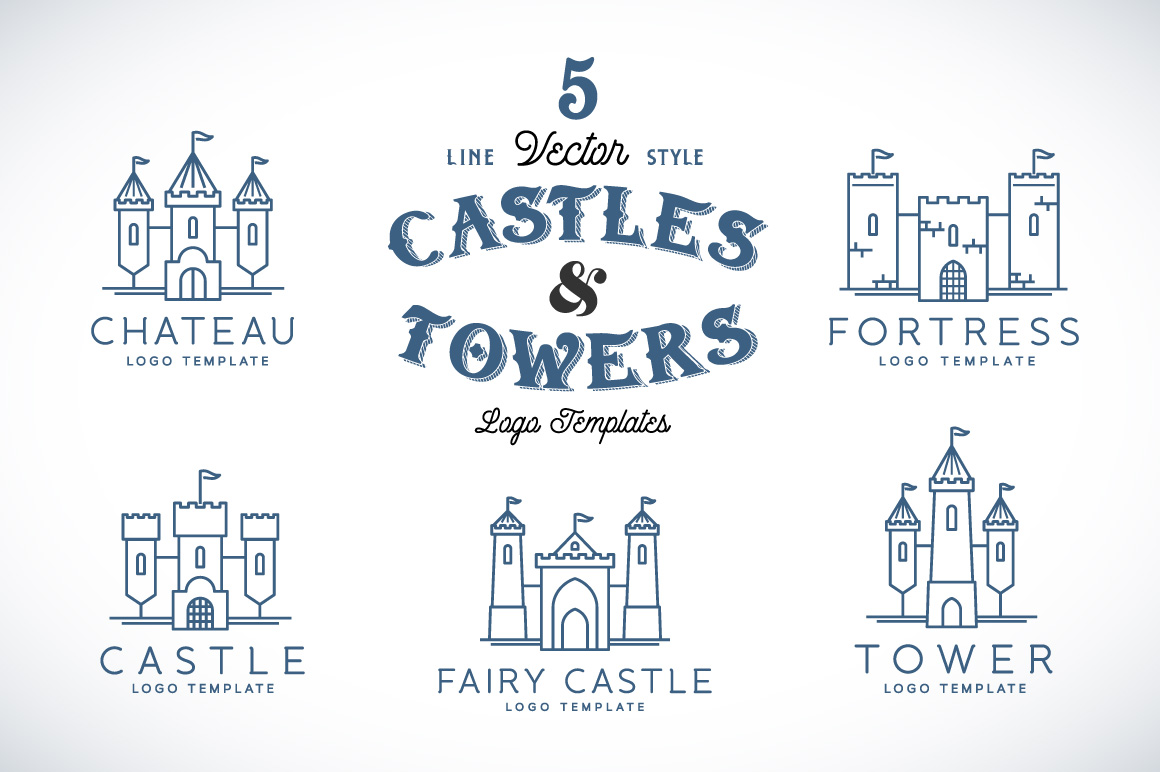 Line Style Vector Castle Logos Logo Templates On