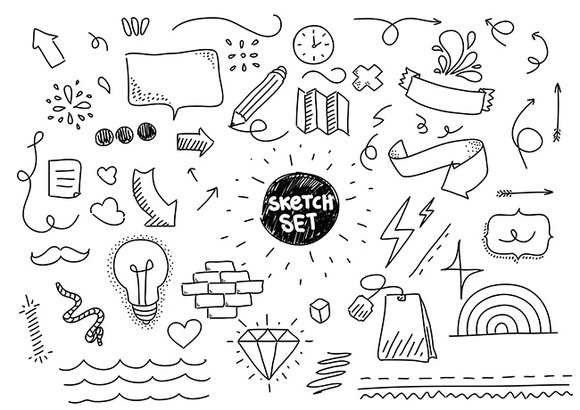 Sketch set. Hand drawn elements. - Objects