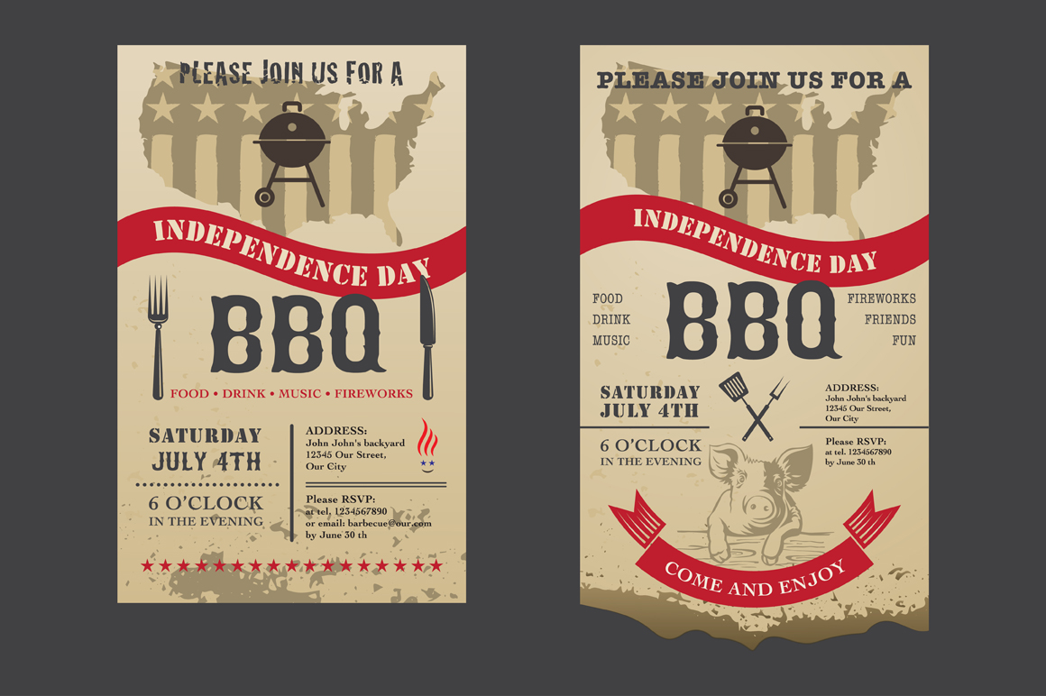 Barbecue Invitation Independence Day Invitation
