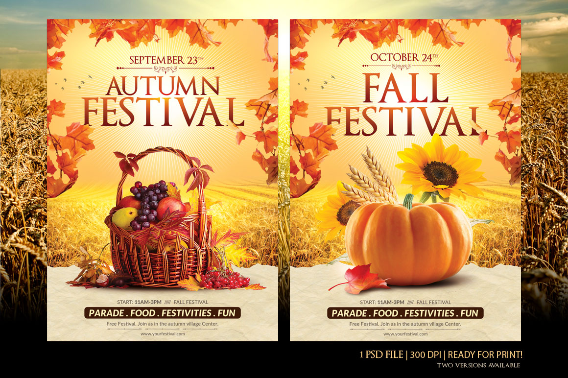 fall festival flyer template flyer templates on creative market. Black Bedroom Furniture Sets. Home Design Ideas