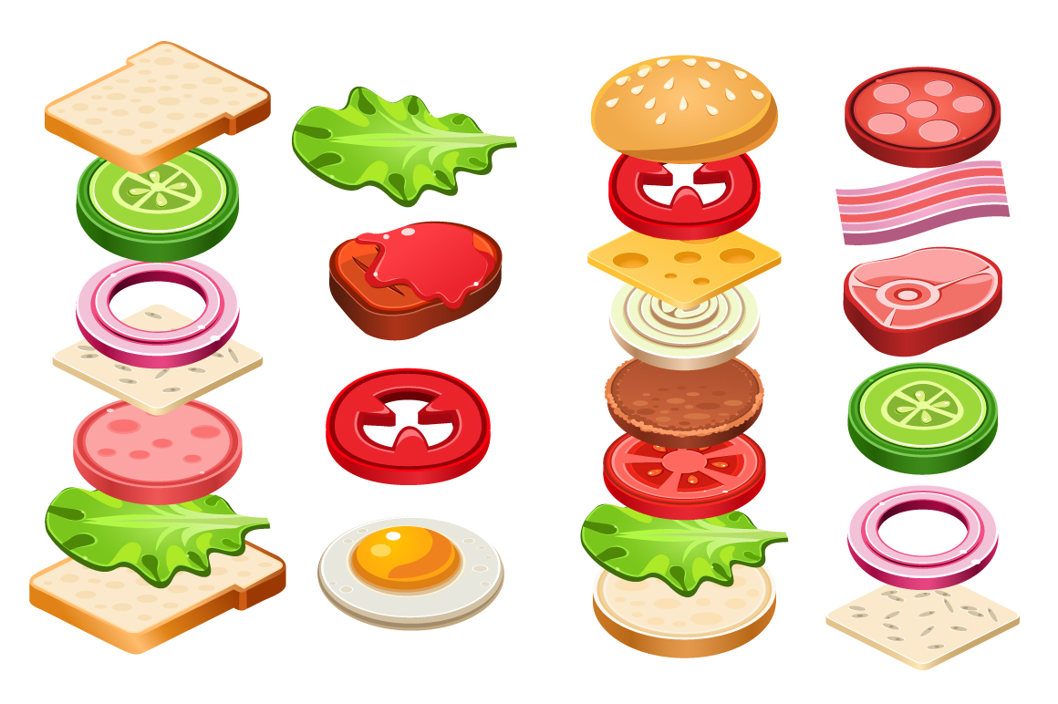 Sandwich ingredients food vector web elements on for Cuisine 5 ingredients