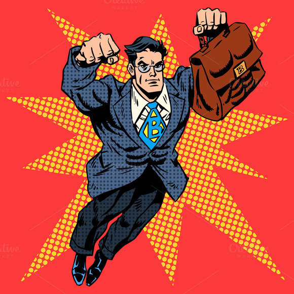 Retro Superhero Art: Businessman Superhero Work Flight