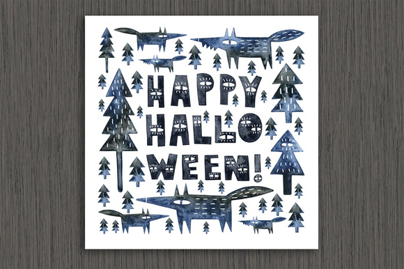Halloween Watercolor Card Clipart