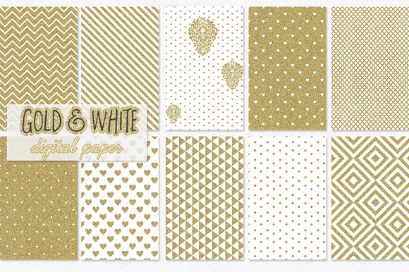 Gold And White Digital Paper Pattern
