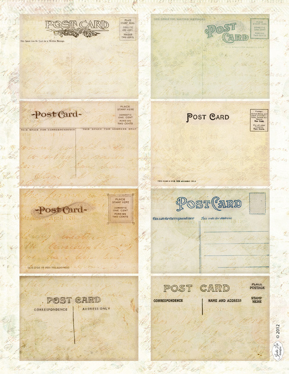 Antique Mini Postcard Clip Art