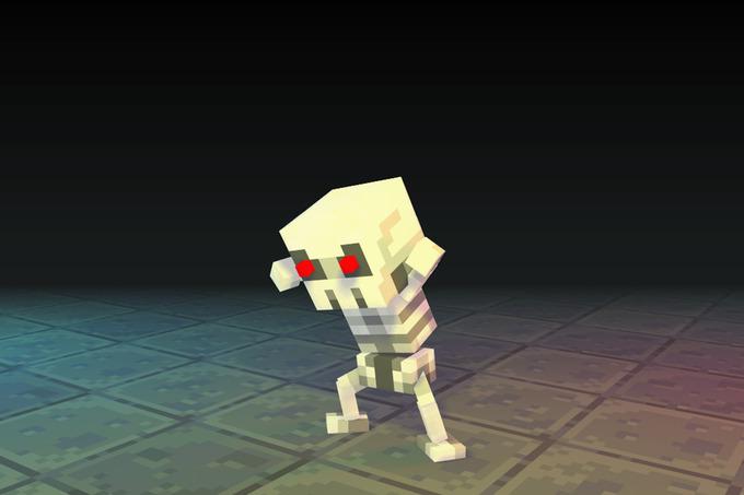 Low Poly 3D Pixel Skeleton