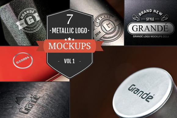 7 Unique Metallic Logo Mockups Vol.1 - Product Mockups