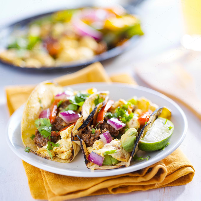 chorizo scrambled egg tacos ~ Food & Drink Photos on Creative Market