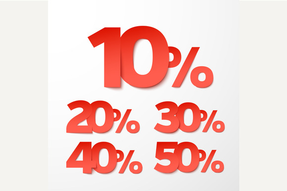 Sale percents. Vector. Paper style. - Graphics