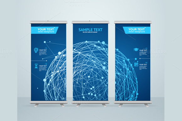 Roll Up Banner Stand Design. Vector - Illustrations