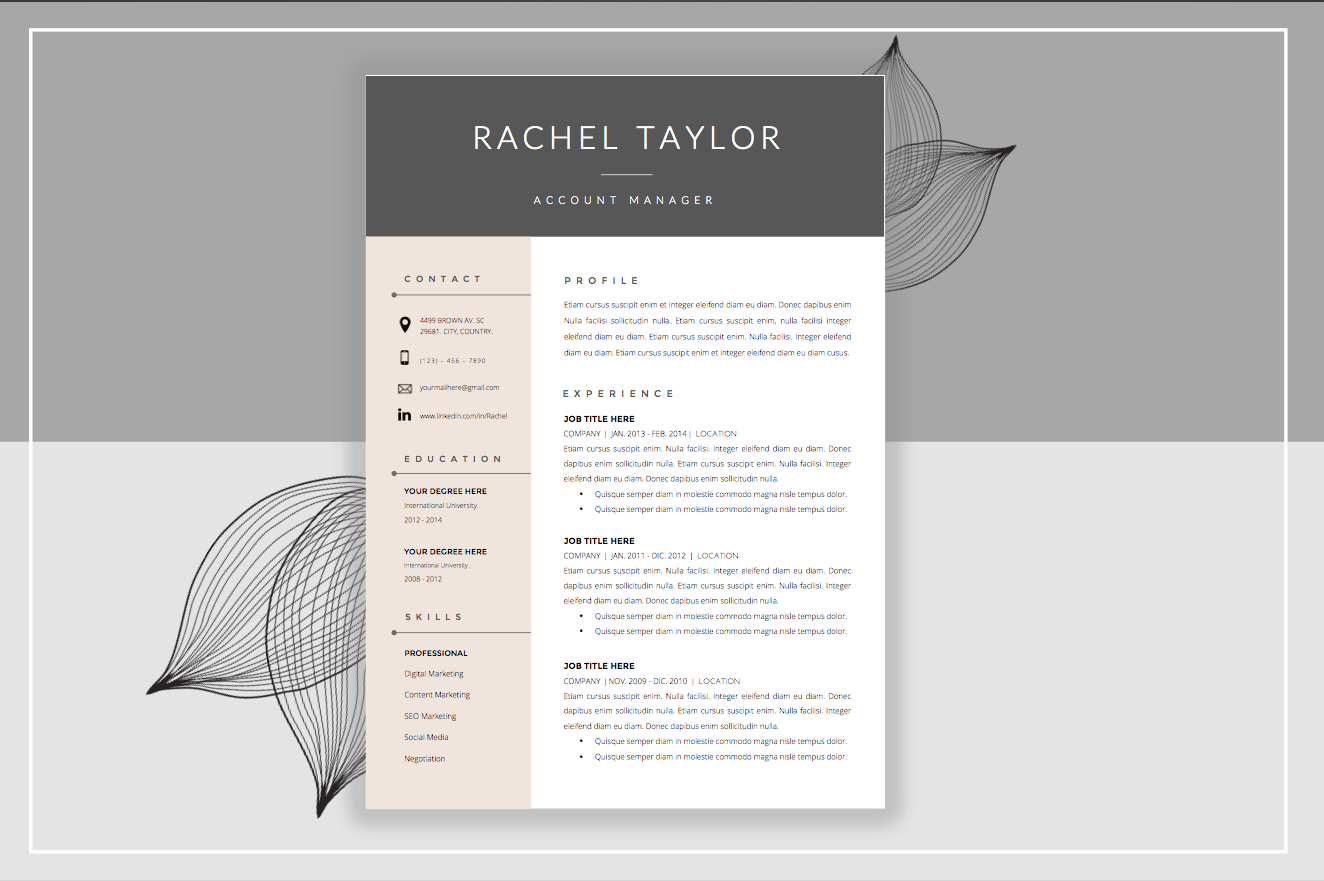 resume template  u0026 cover letter
