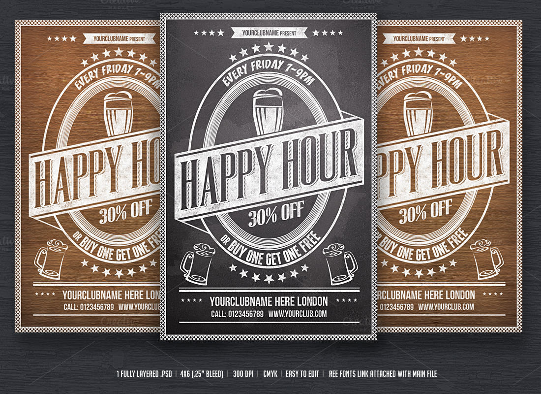 Happy Hour Flyer template ~ Flyer Templates on Creative Market