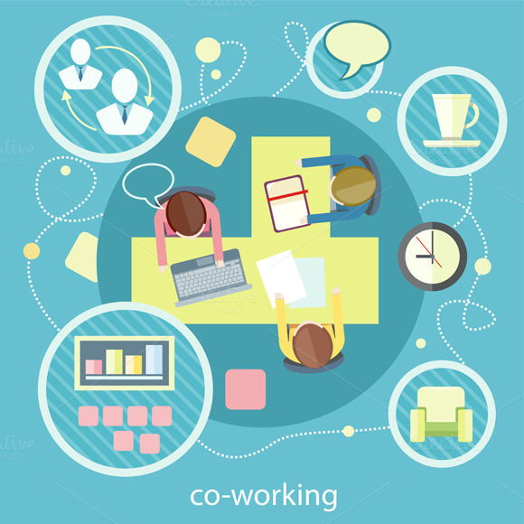 Coworking Concept. Business Meeting - Graphics