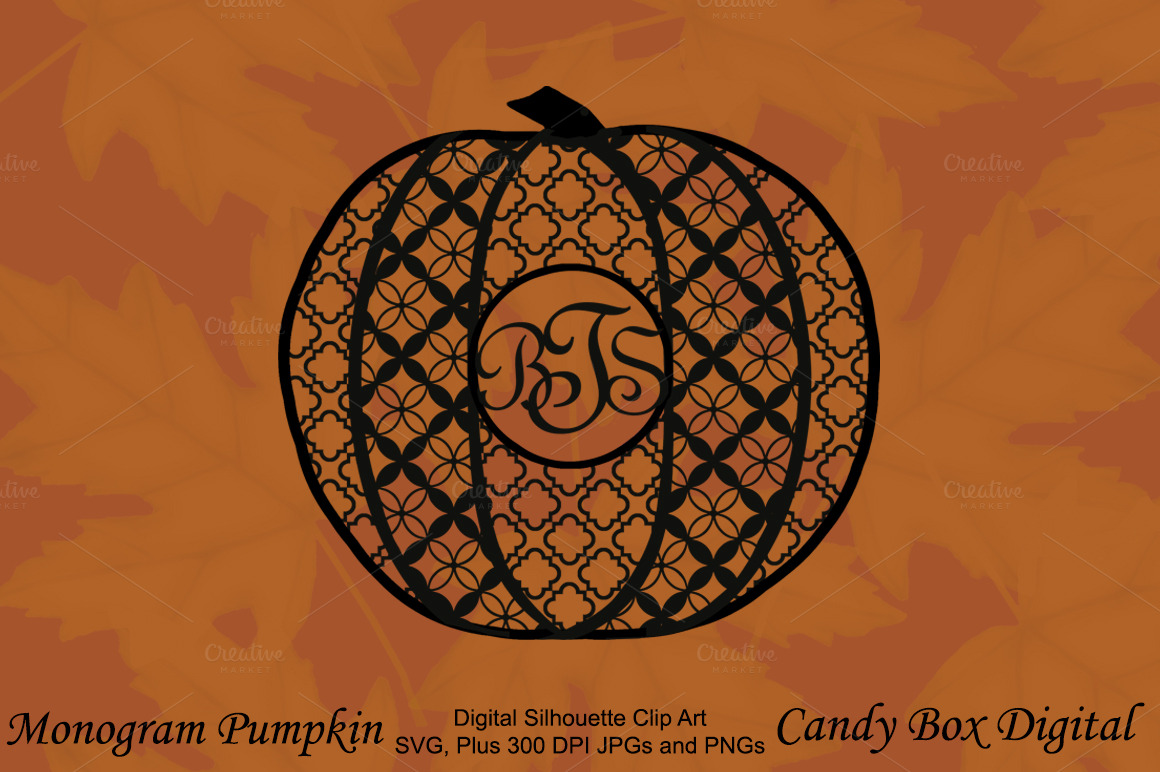 Monogram pumpkin silhouette patterns on creative market for Monogram pumpkin templates