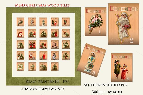 Vintage Style December Wood Tiles