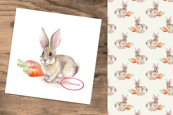 Rabbit. Watercolor + seamless. - Illustrations
