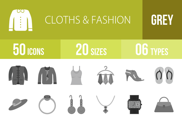 50 Clothes Fashion Greyscale Icons
