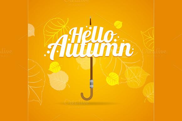 Autumn Umbrella Lettering Concept