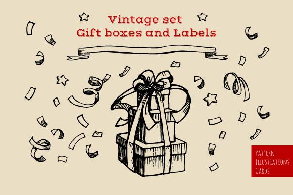 Set of Gift boxes & Labels. Vintage - Illustrations
