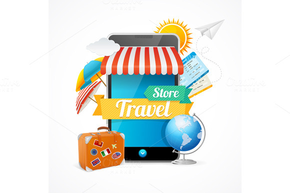 On-line Travel Concept. Vector. - Illustrations