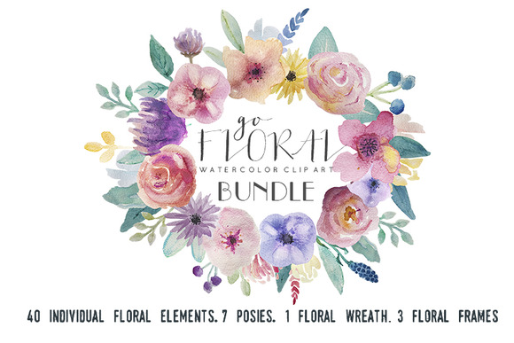 Go Floral Watercolor Clip Art Set