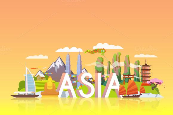 Travel Banner. Asia. - Illustrations