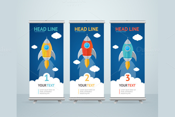 Roll Up Banner Stand Design. Vector - Illustrations