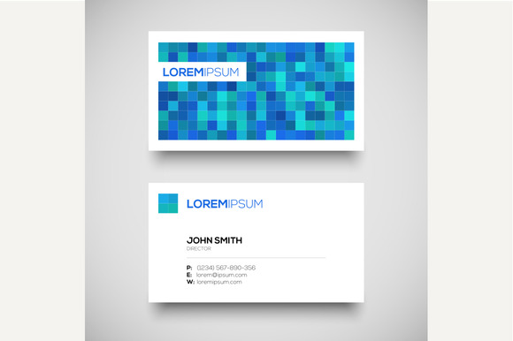 Vector Blue Business Card Set