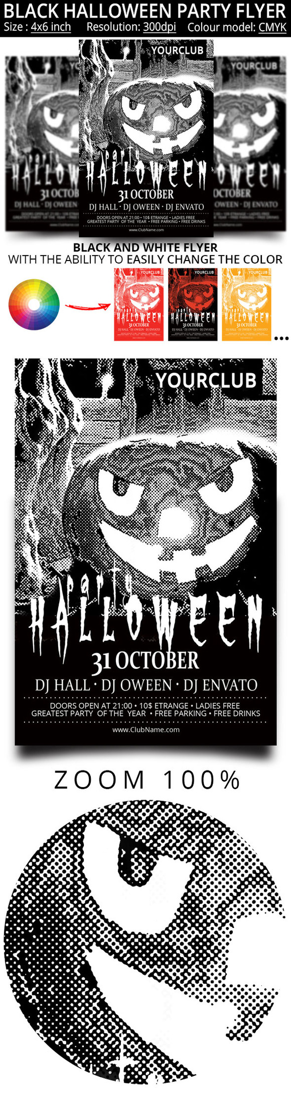 black and white flyer for the hallow