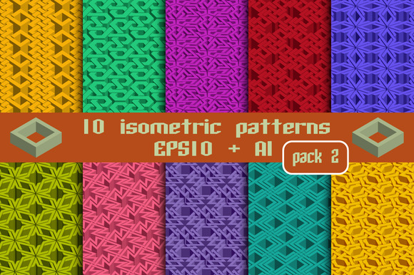 10 isometric patterns. Package 2 - Patterns