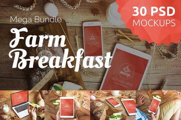30 PSD Farm Breakfast Mockups