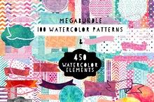 Watercolor Pattern & Elements Bundle