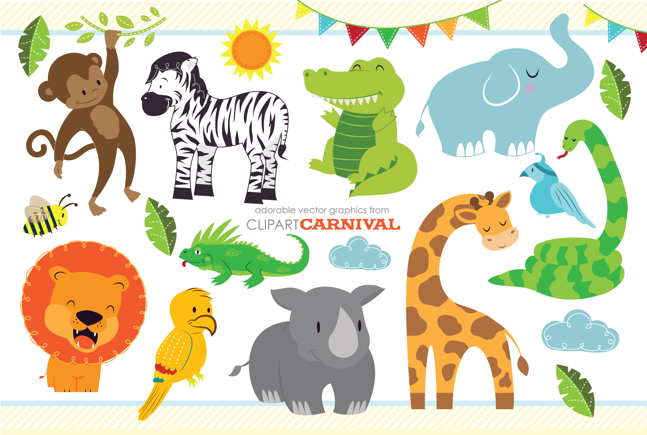 Cute Baby Jungle Safari Animals Art ~ Illustrations on ...