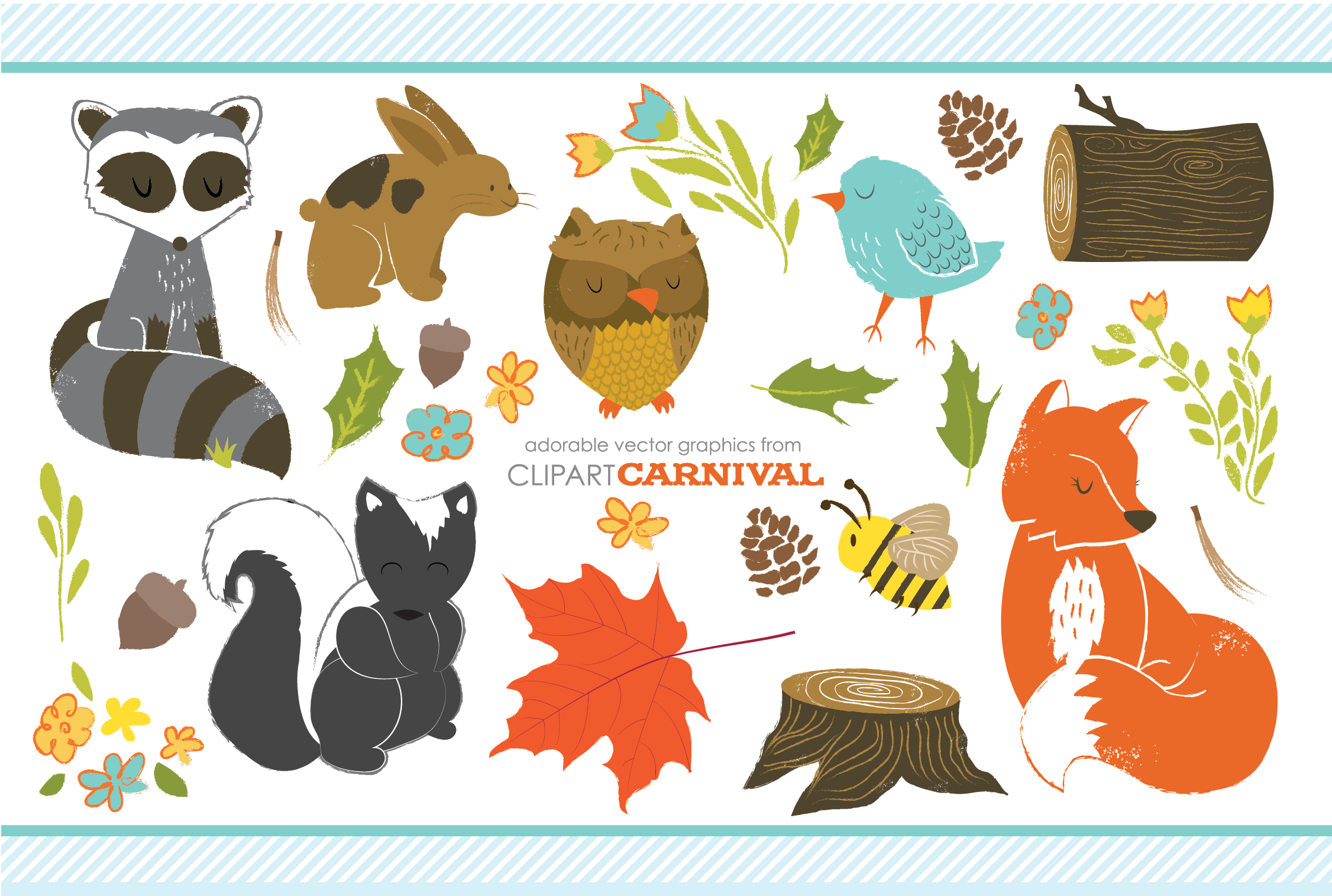 Cute Woodland Animals with Texture ~ Illustrations on Creative Market