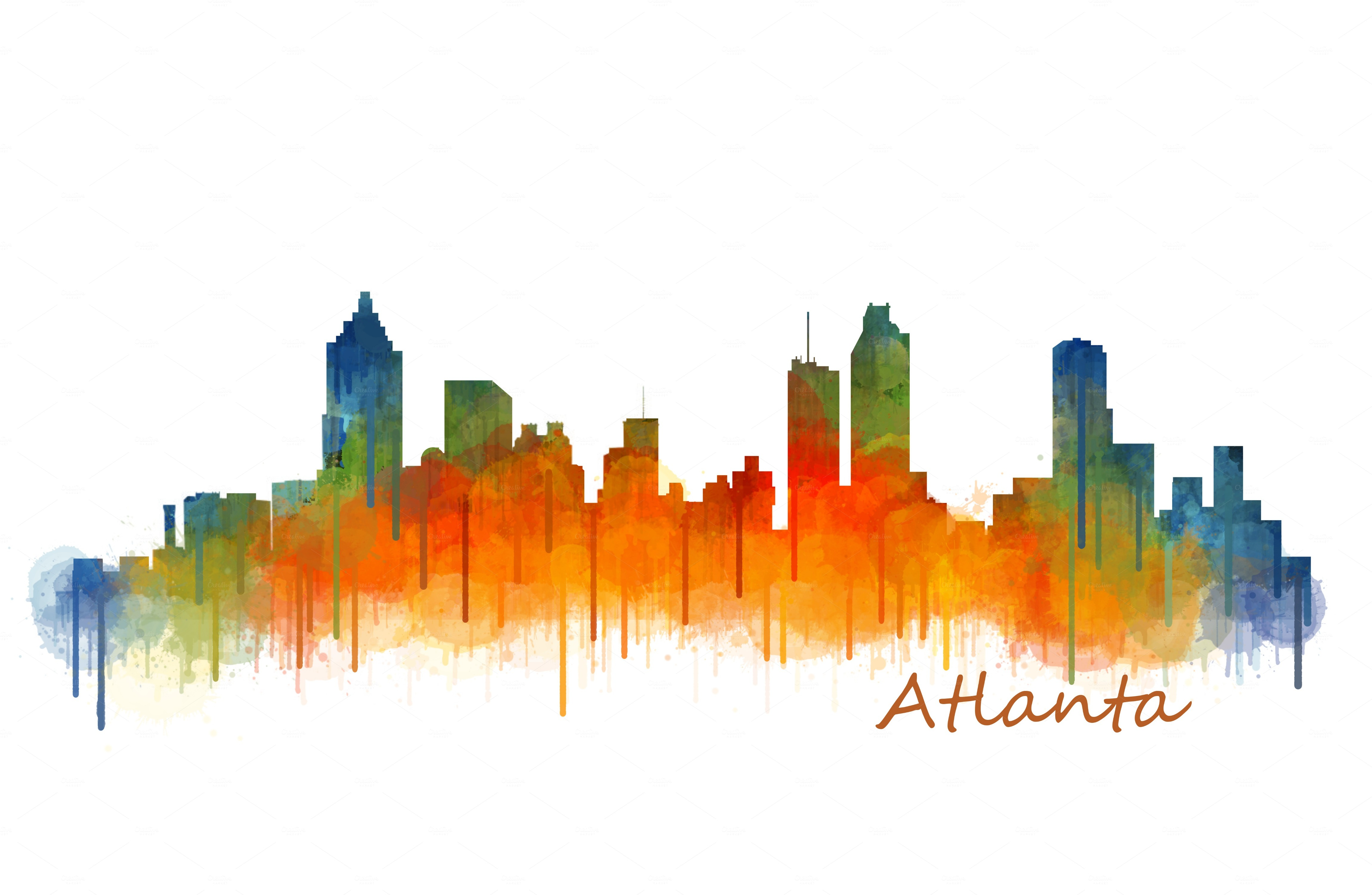 Atlanta City Skyline Hq v2 ~ Illustrations on Creative Market